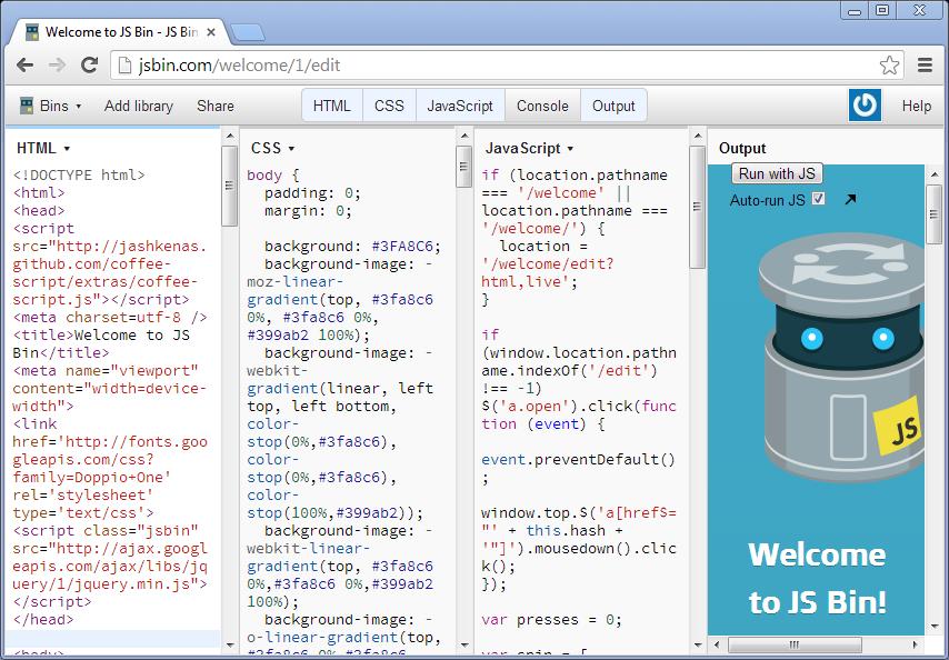 JS Bin for hosting websites